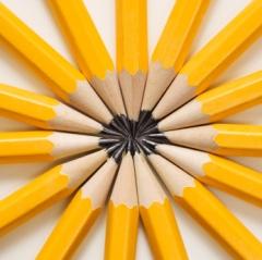 Pencils in star shape.